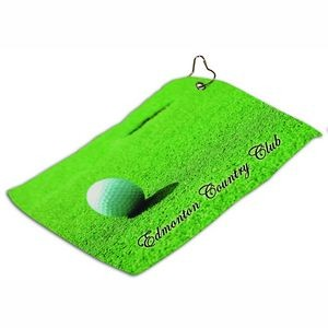 Small White Full Color Golf Towel