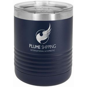 Polar Camel Ringneck 10 oz. Navy Blue Vacuum Insulated Tumbler with Clear Lid