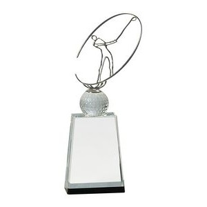 "12"" Clear/Black Crystal Golf Award with Silver Metal Oval Figure"