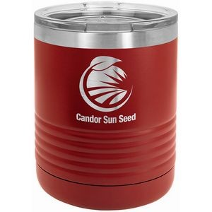 Polar Camel Ringneck 10 oz. Maroon Vacuum Insulated Tumbler with Clear Lid